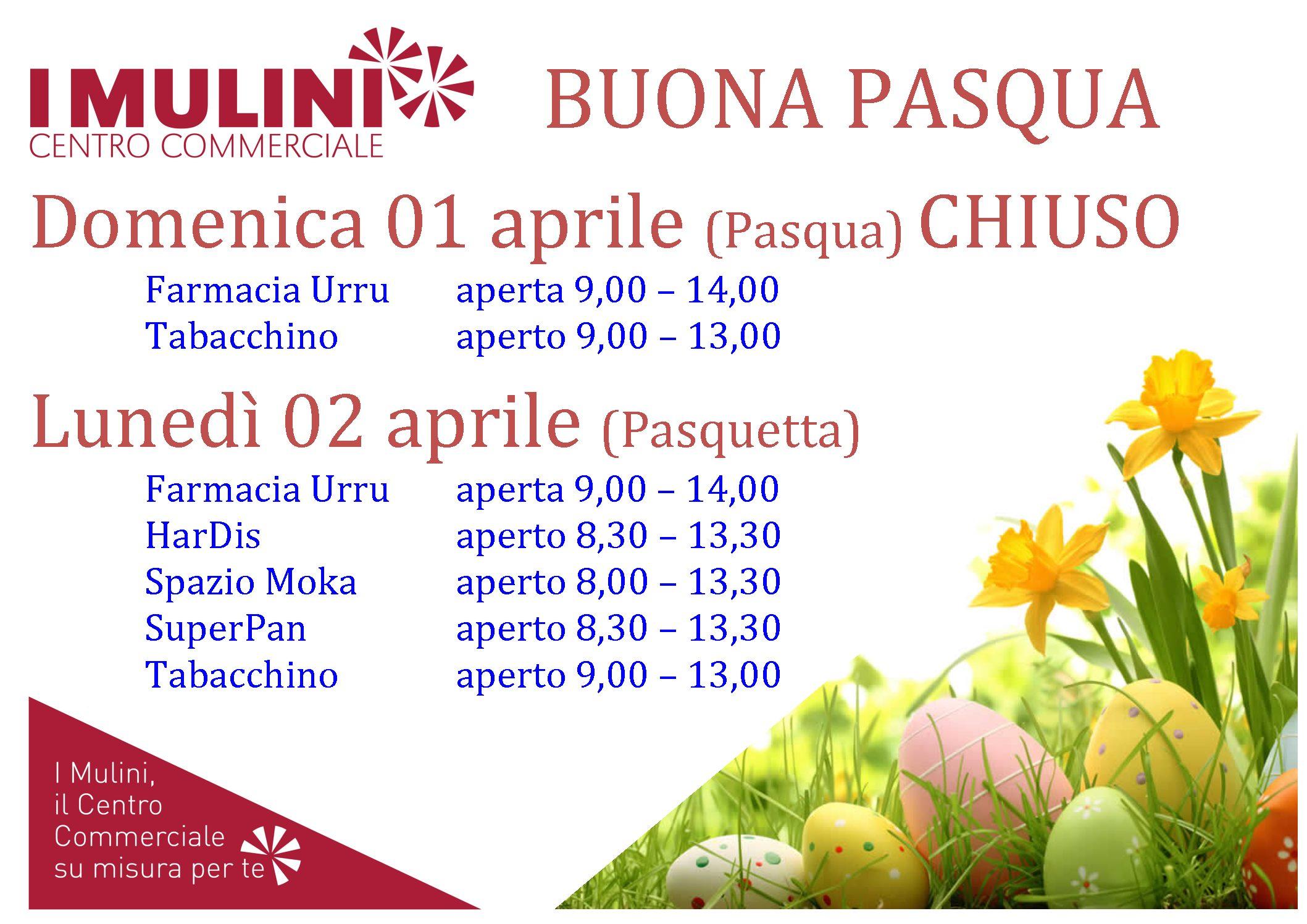 Orario d'apertura festività Pasquali